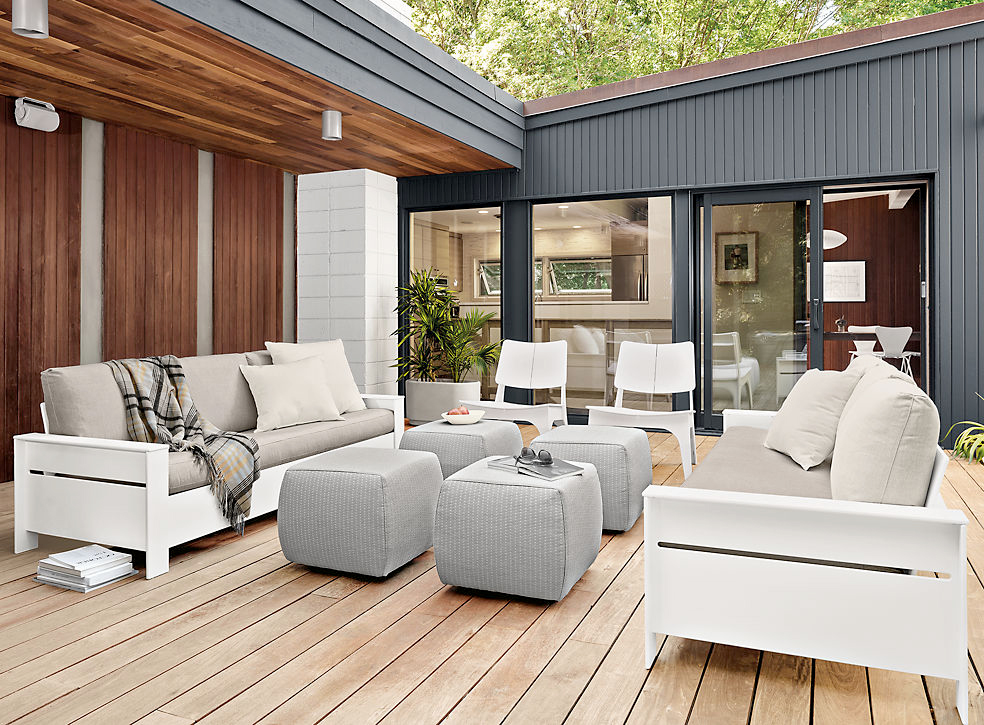 white and gray Room and Board patio furniture