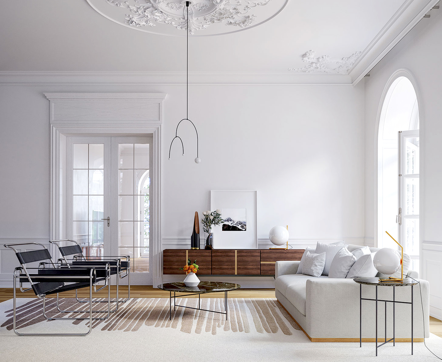interior with modern Rove Concepts furniture and white walls