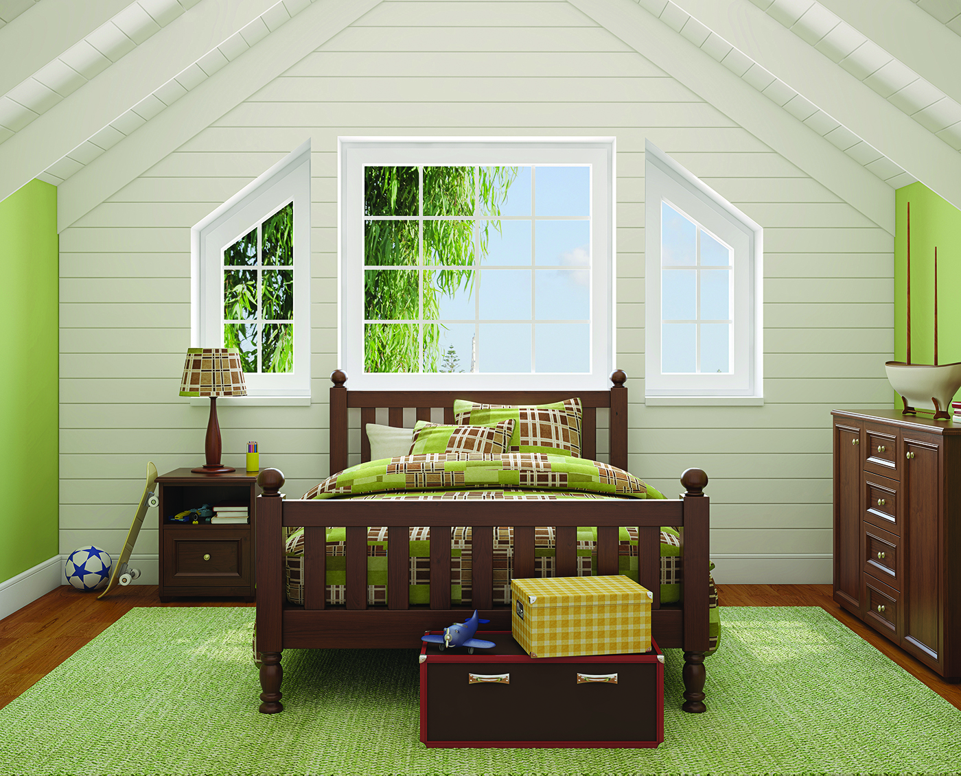 Architectural shape window in a bedroom.