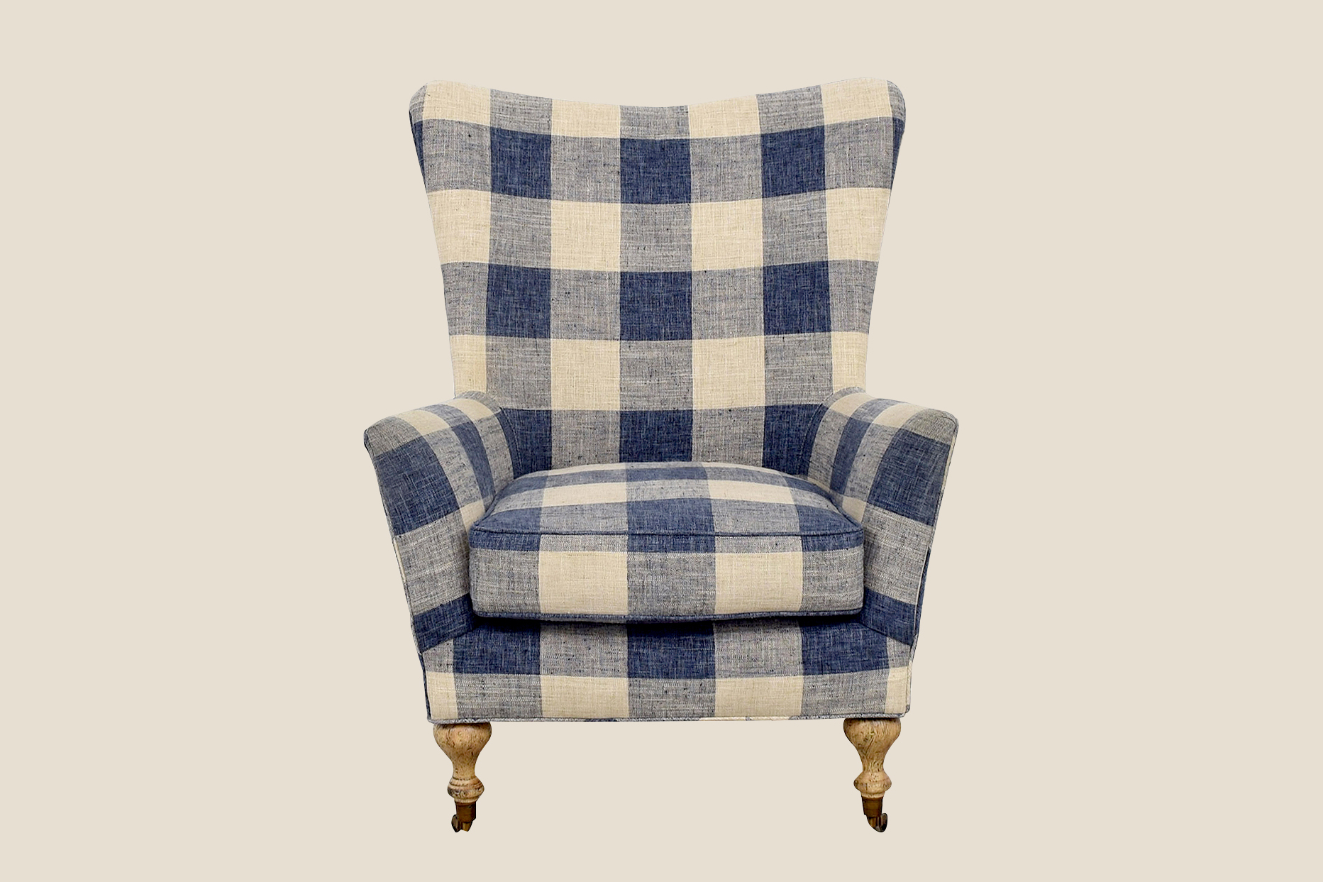 Kaiyo navy blue buffalo check armchair
