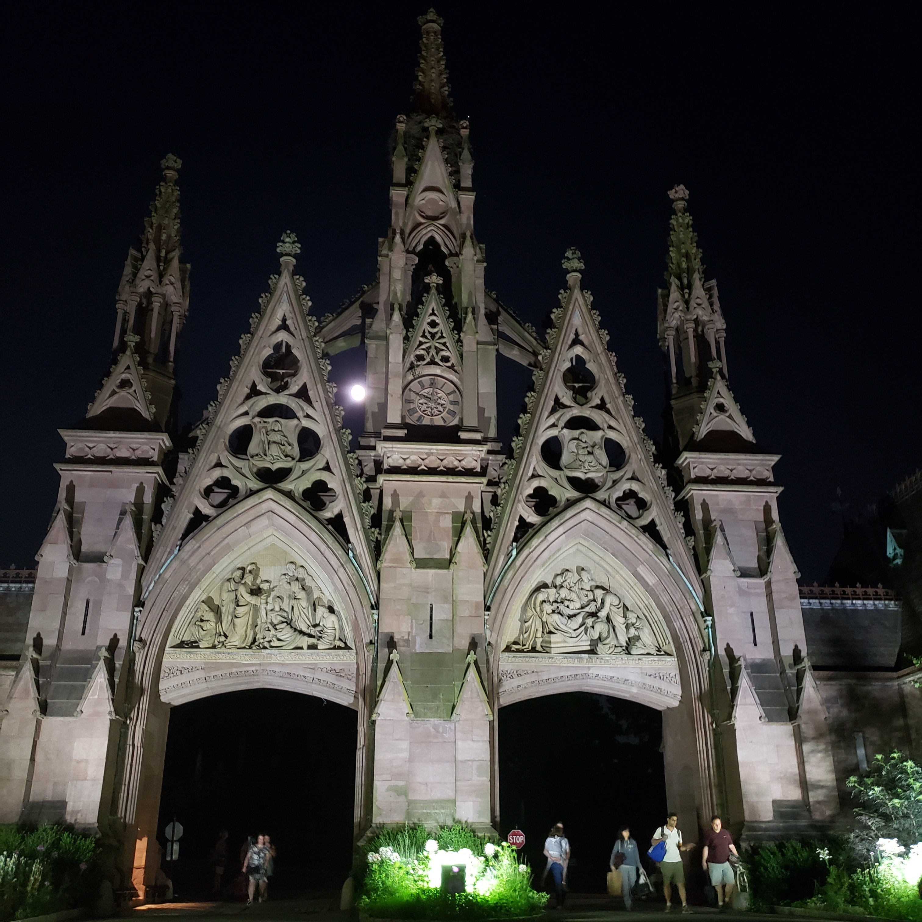Arches at Green-Wood Cemetery at night