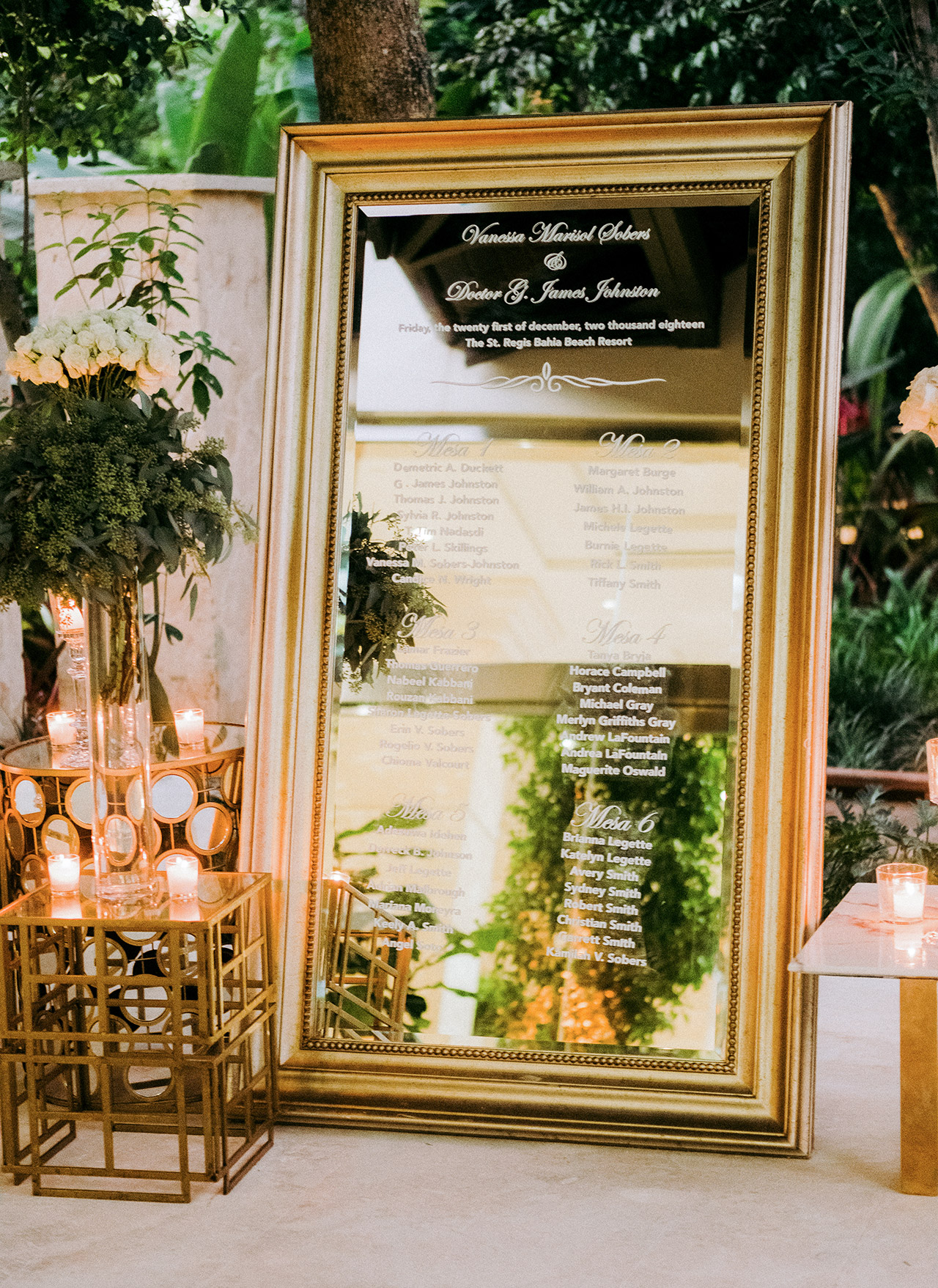 oversized gold frame mirror seating chart