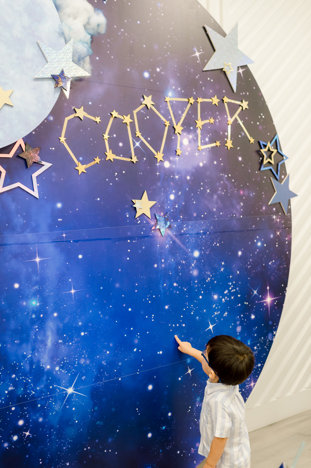 Cooper name spelled in star constellation decor