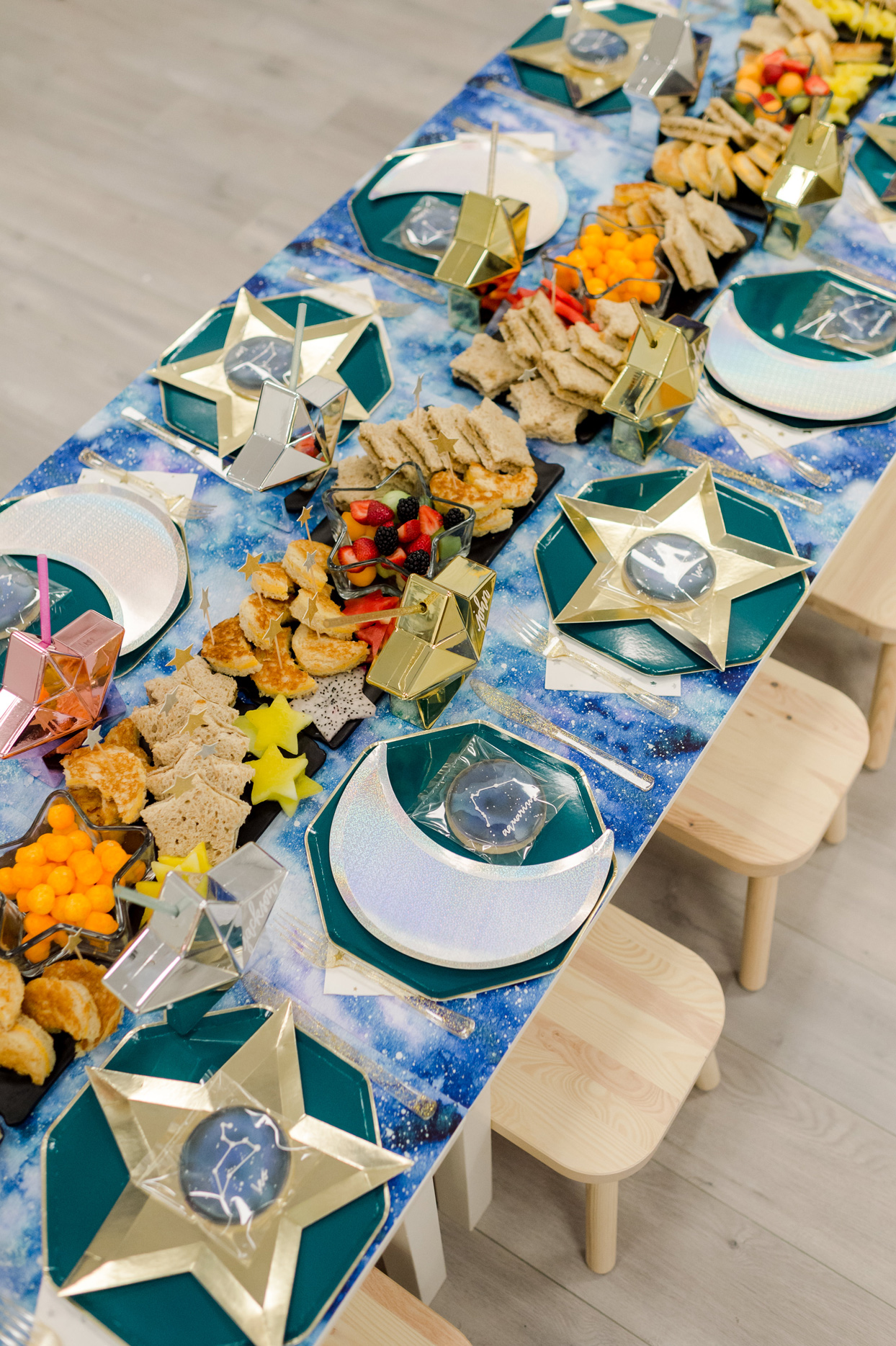 star and moon shaped birthday party food