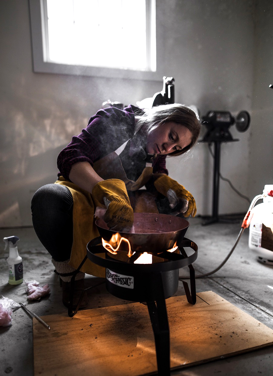 sara dahmen in her copper workshop