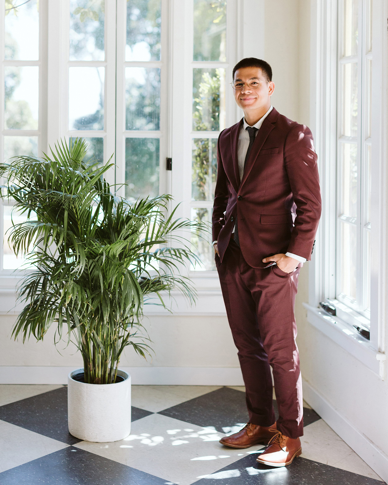 groom brown suit tea ceremony outfit