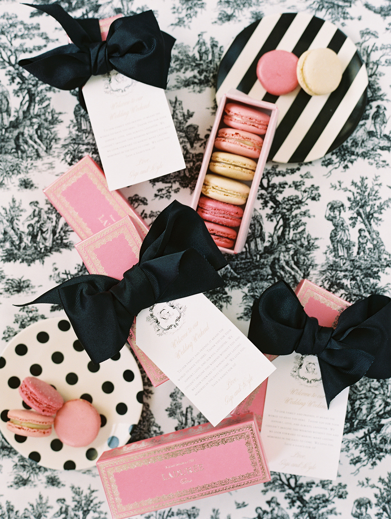 gigi kyle wedding french favors in pink, black and white