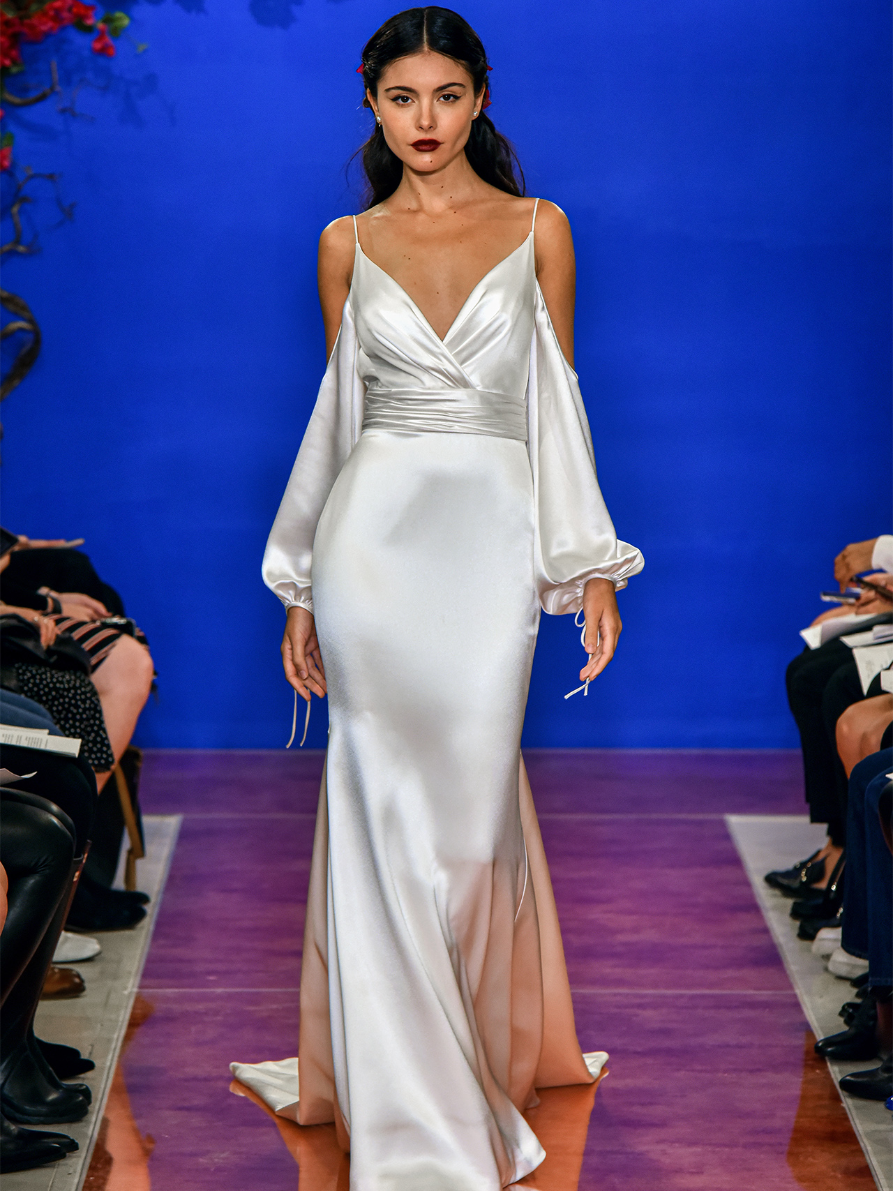 THEIA satin cold shoulder wedding dress fall 2020