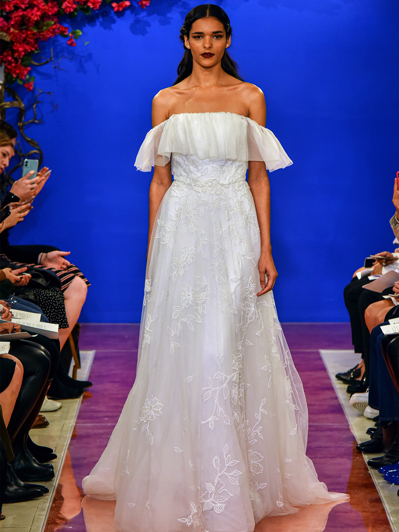 THEIA off the shoulder ruffle wedding dress fall 2020