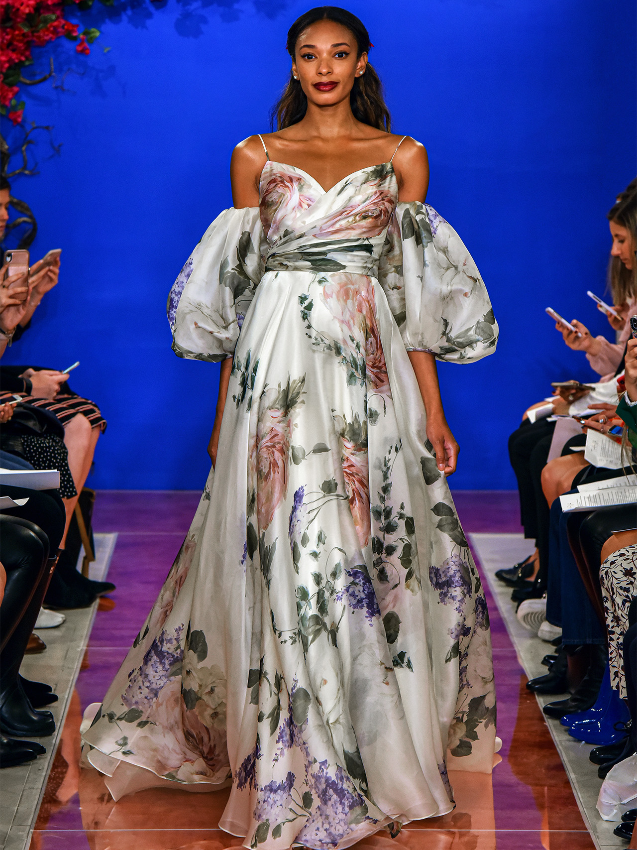 THEIA cold shoulder floral print wedding dress fall 2020