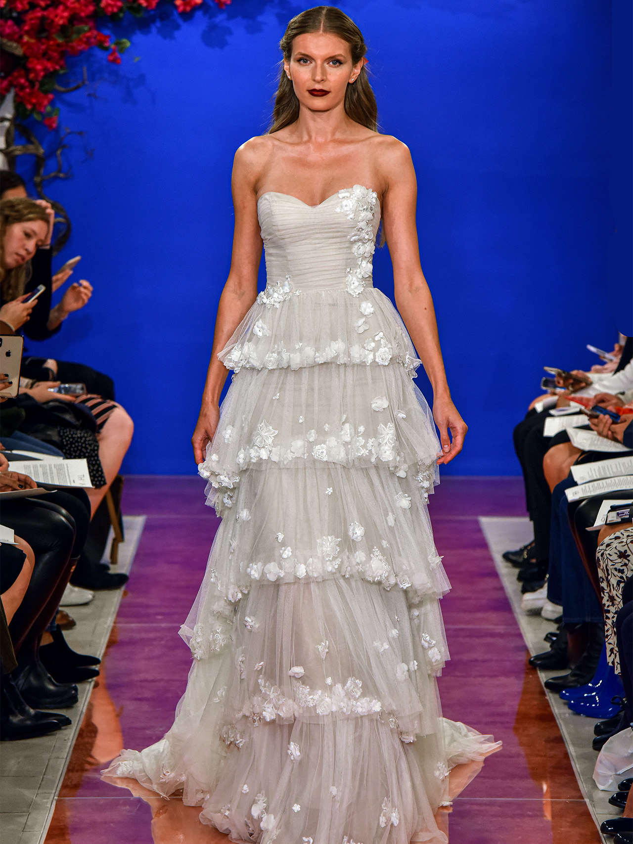 THEIA semi-sweetheart floral embroidery tier wedding dress fall 2020