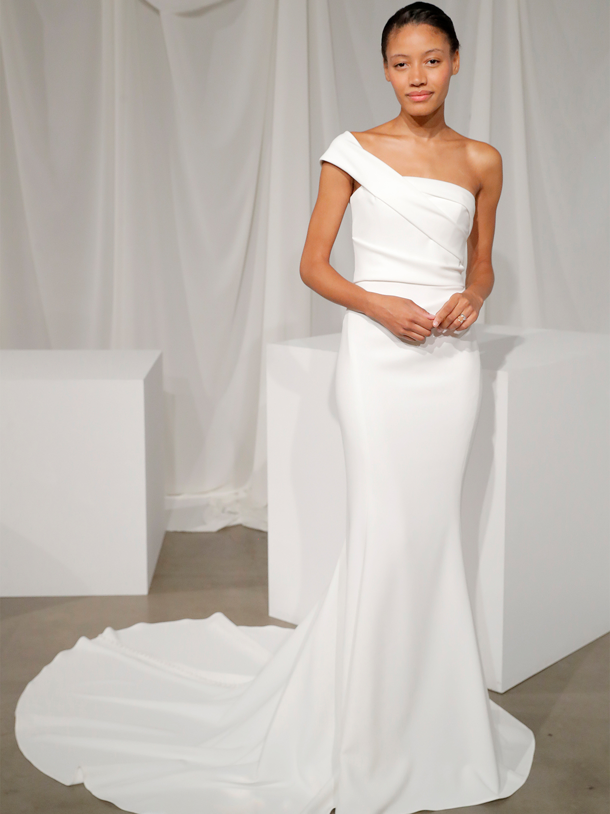 amsale one strap trumpet wedding dress fall 2020