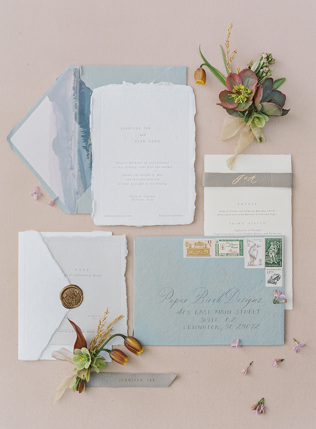 jen alan wedding rustic invitation suite