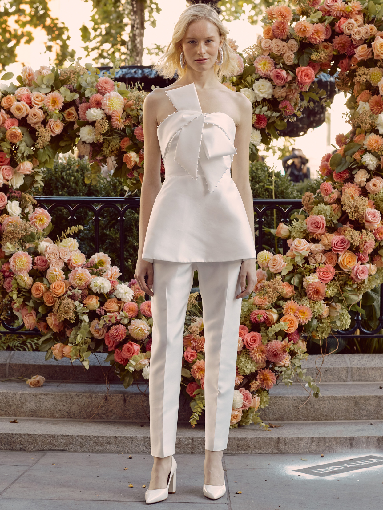 lela rose strapless top with beaded bow and pants wedding dress fall 2020