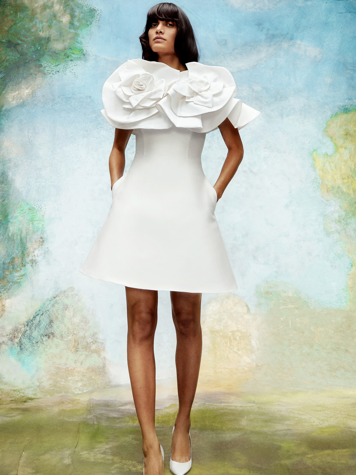 viktor and rolf short wedding dress with 3D floral detail fall 2020