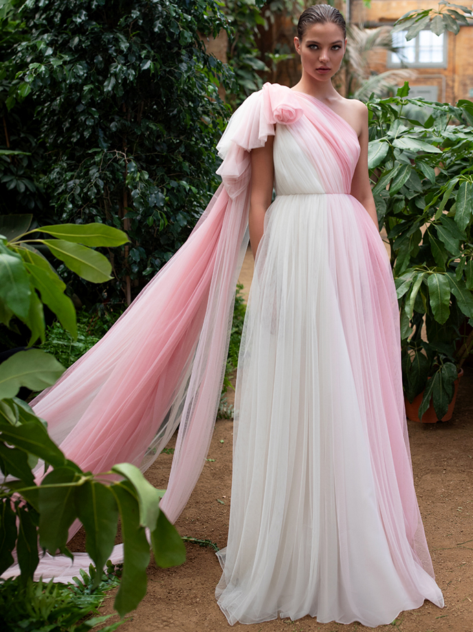 Zac Posen For White One pink and while tulle one shoulder a-line wedding dress fall 2020