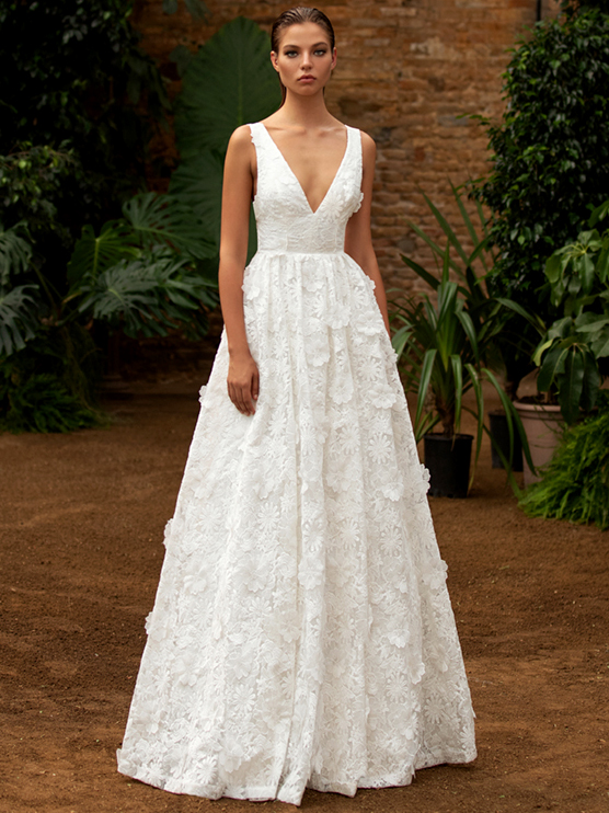 Zac Posen For White One a-line 3D embroidered flower v-neck wedding dress fall 2020