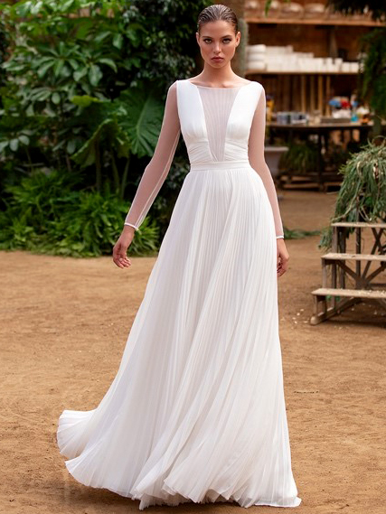 Zac Posen For White One plisse sheer long sleeve a-line wedding dress fall 2020