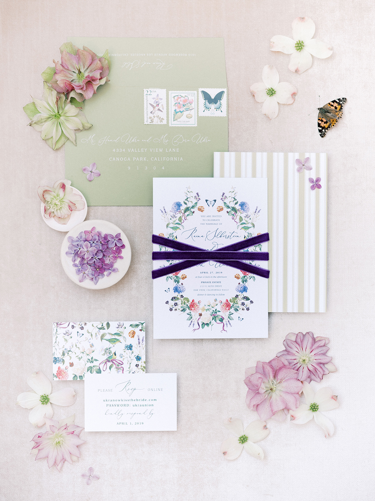 raina salih wedding invitations lavender, green, floral