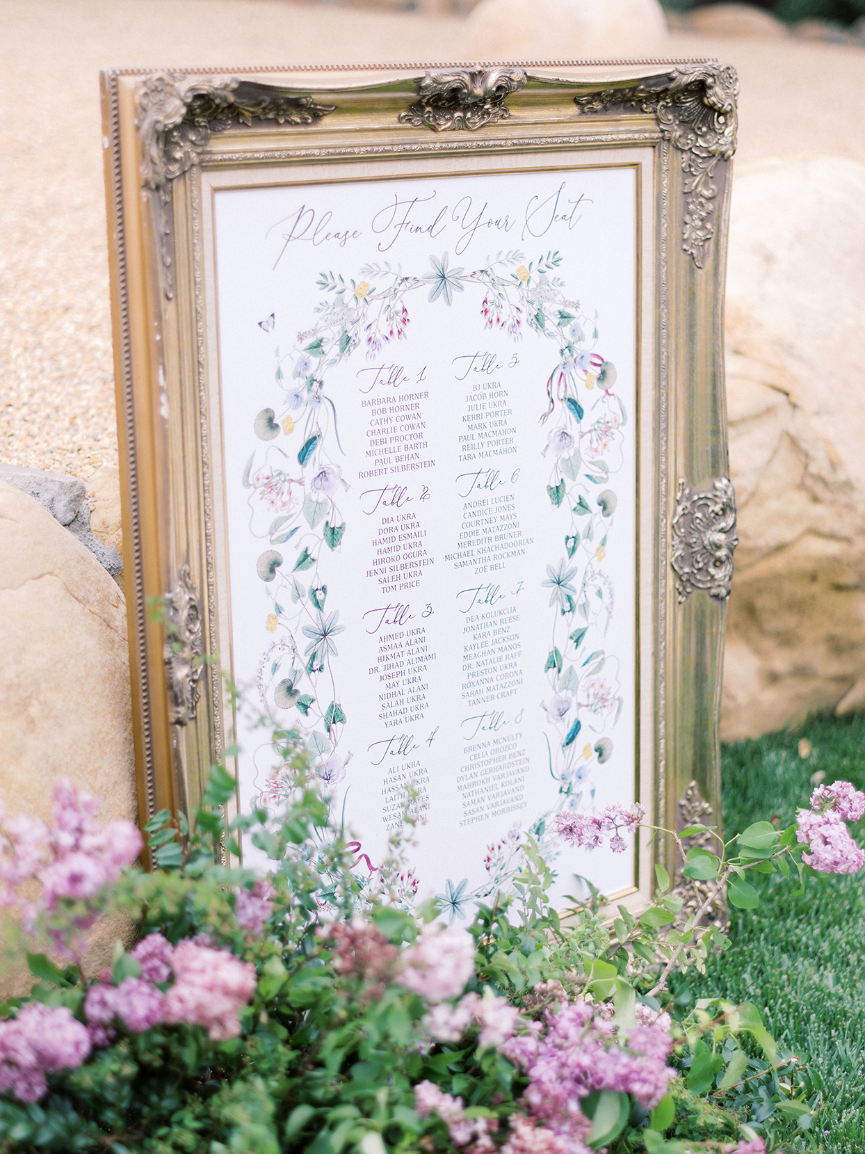 raina salih wedding framed seating chart