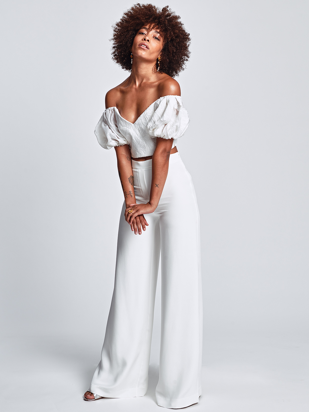 Alexandra Grecco off-the-shoulder separates with pants wedding dress fall 2020