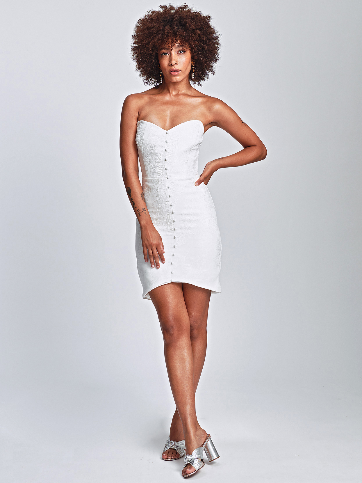 Alexandra Grecco short sweetheart with buttons wedding dress fall 2020