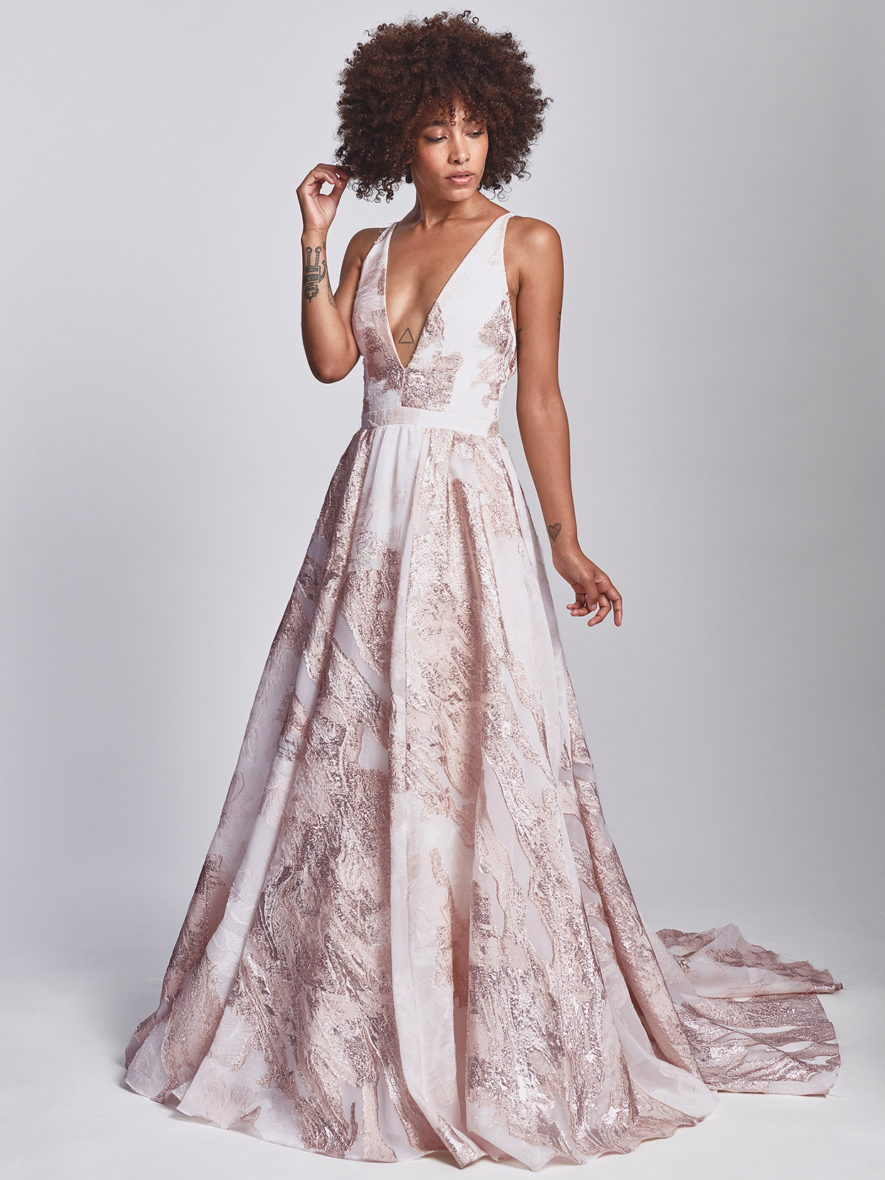 Alexandra Grecco pink v-neck with metallic accent wedding dress fall 2020