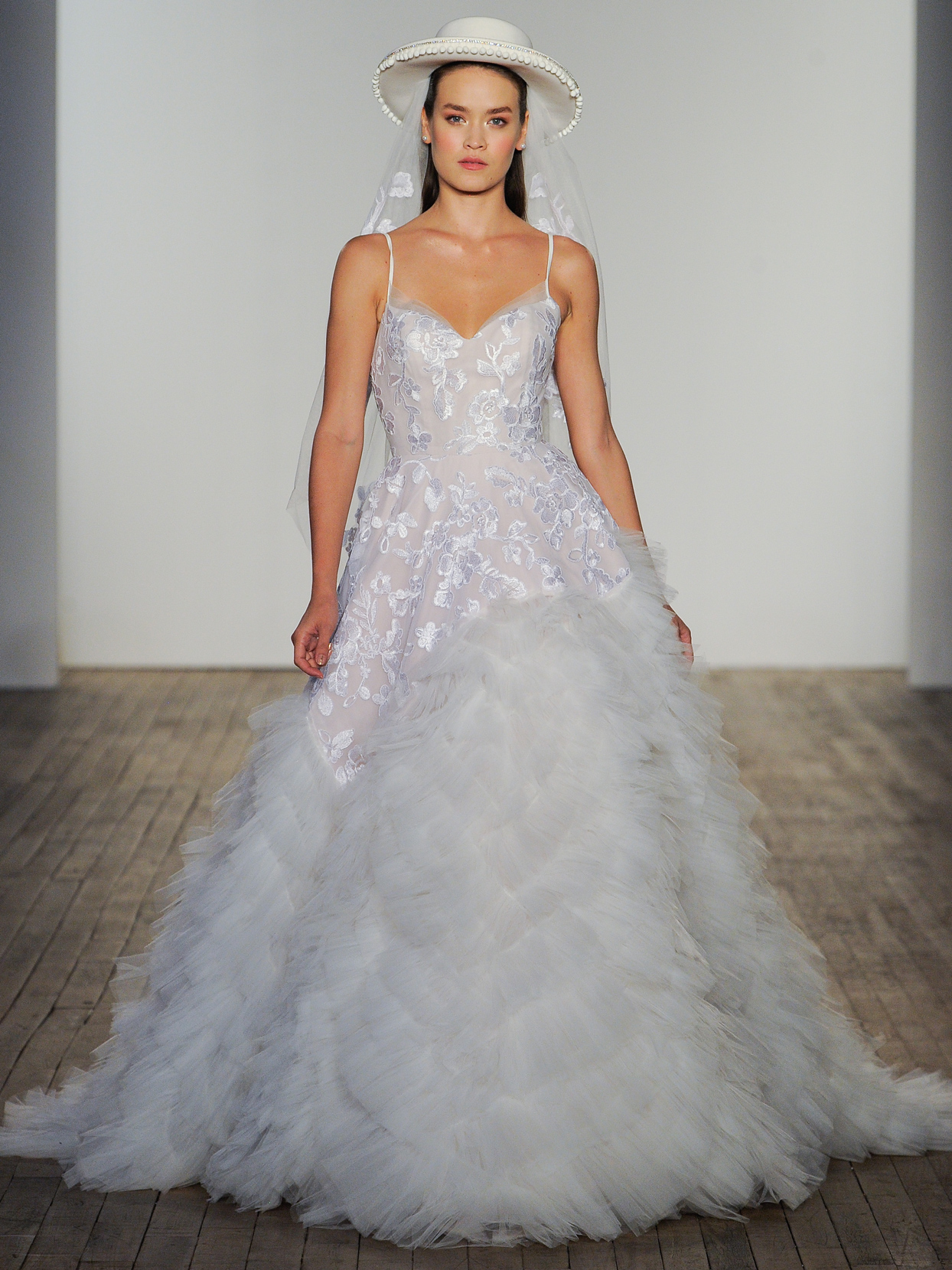 Hayley Paige embroidered lace ball gown tiered tufted tulle skirt wedding dress fall 2020