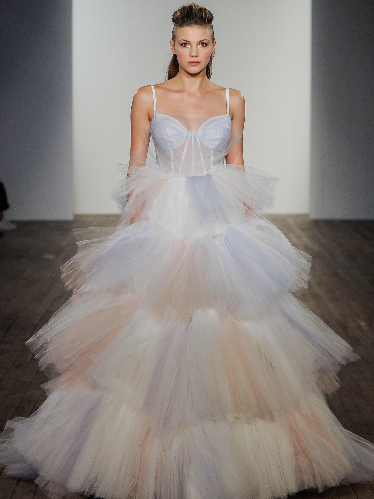 Hayley Paige tulle ballgown sheer corset bodice wedding dress fall 2020