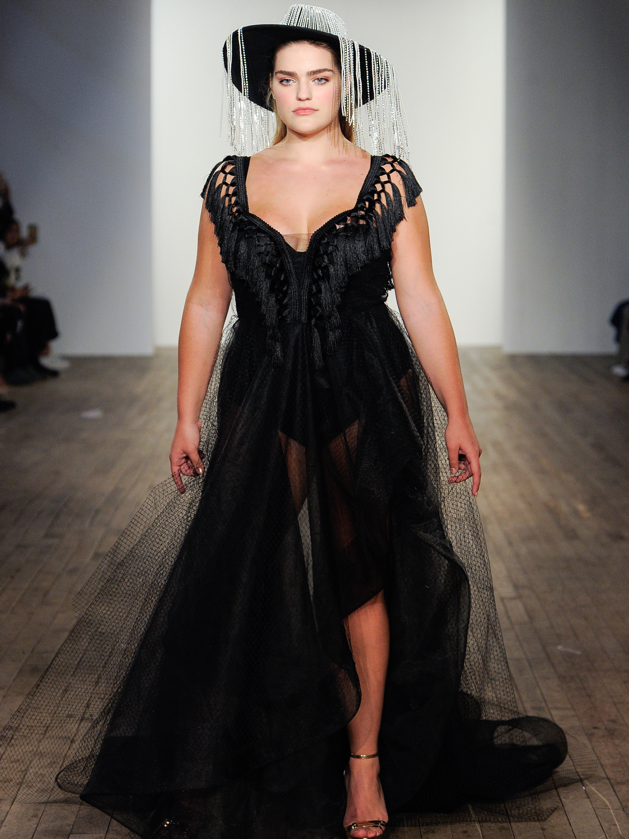 Hayley Paige Black net and tulle tassel accent wedding dress fall 2020