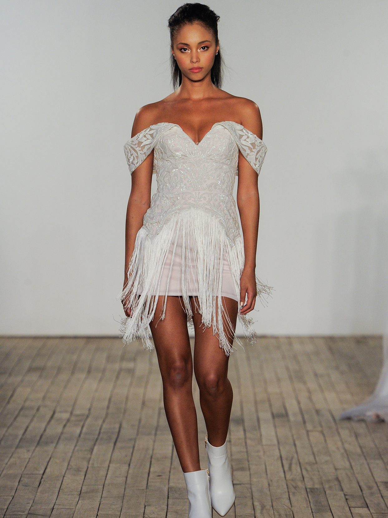 Hayley Paige off-the-shoulder micro-beaded mini wedding dress fall 2020