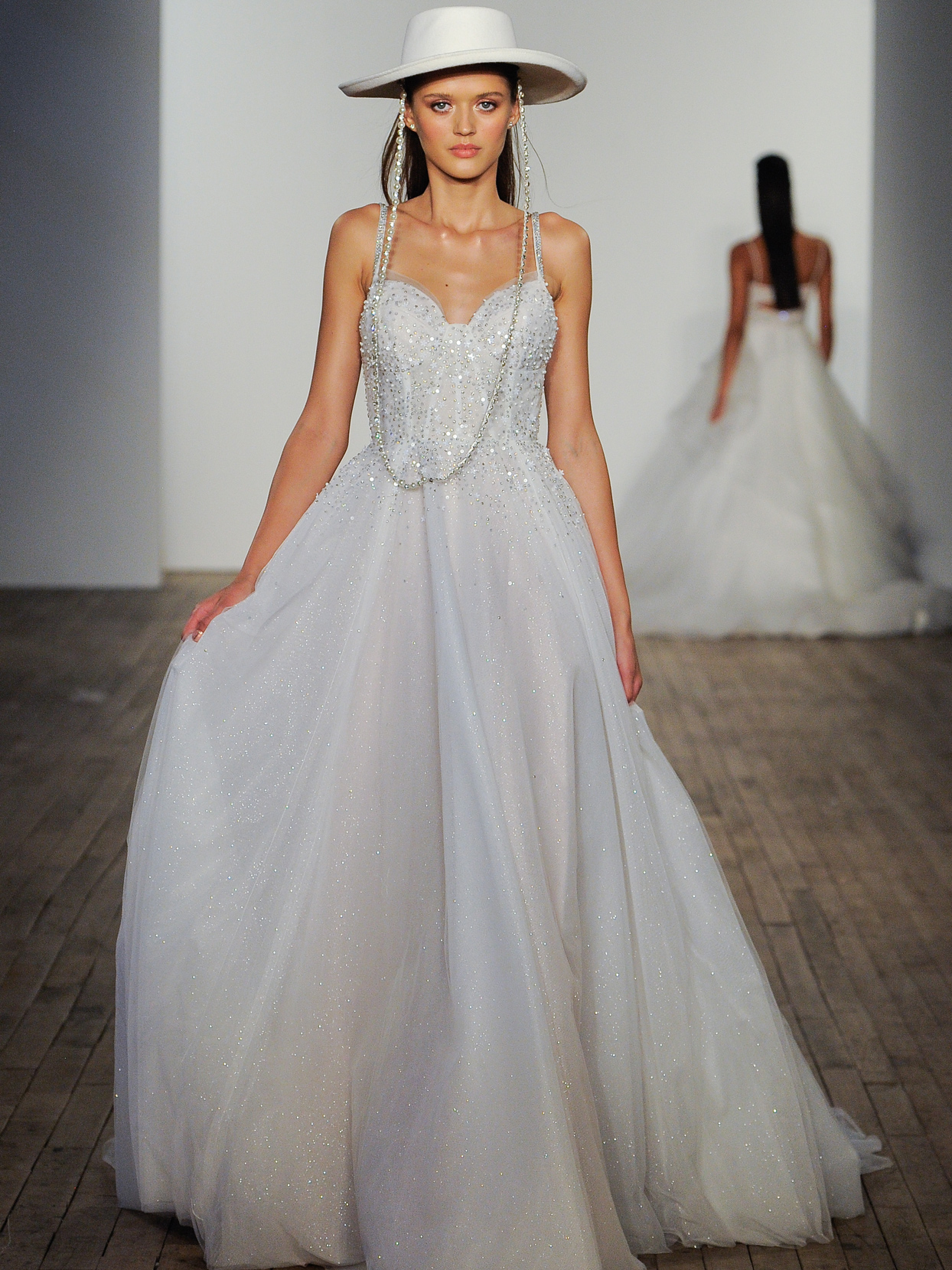 Hayley Paige sparkle corset tulle A-line wedding dress fall 2020
