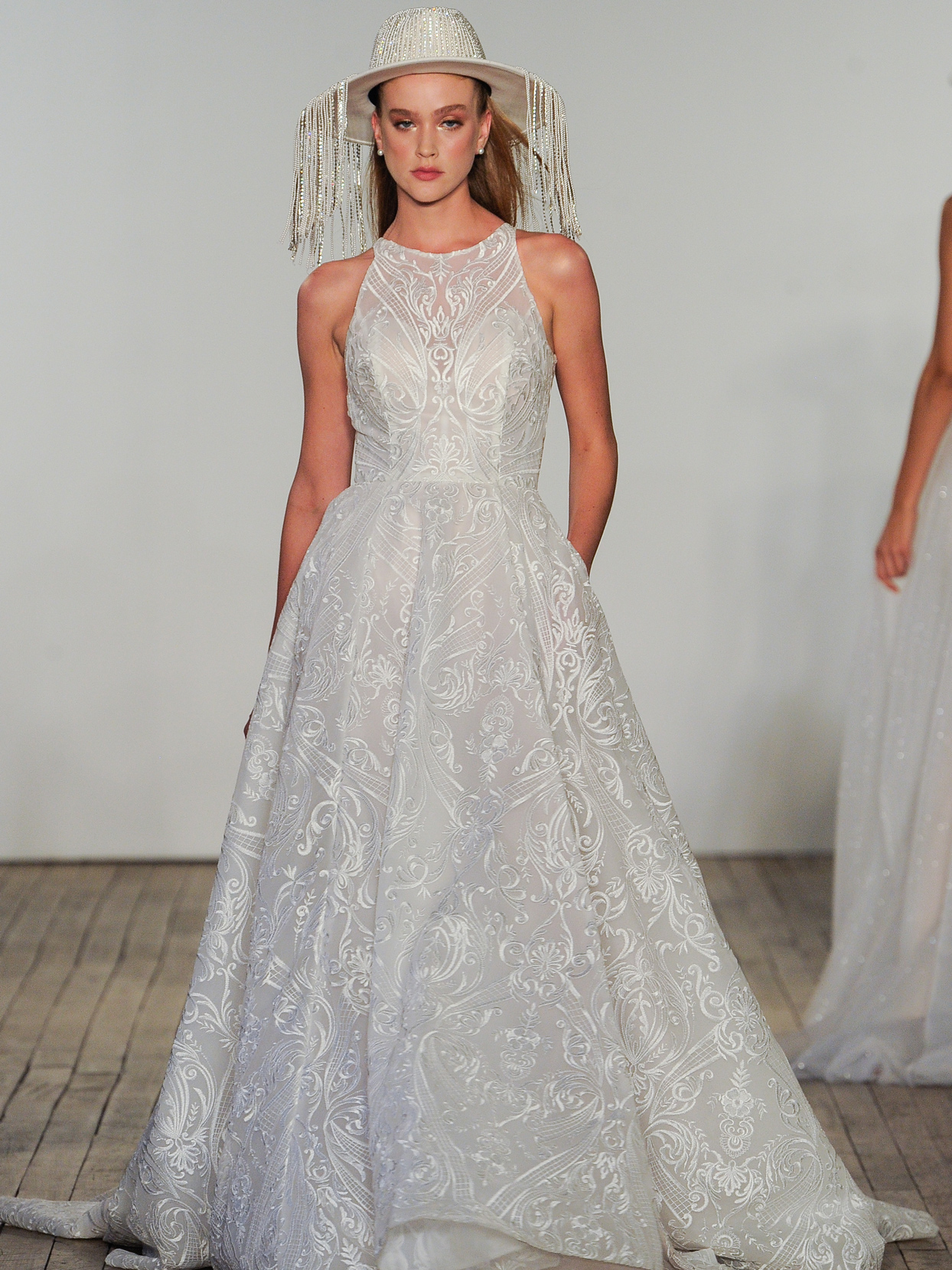 Hayley Paige embroidered A-line high neck wedding dress fall 2020