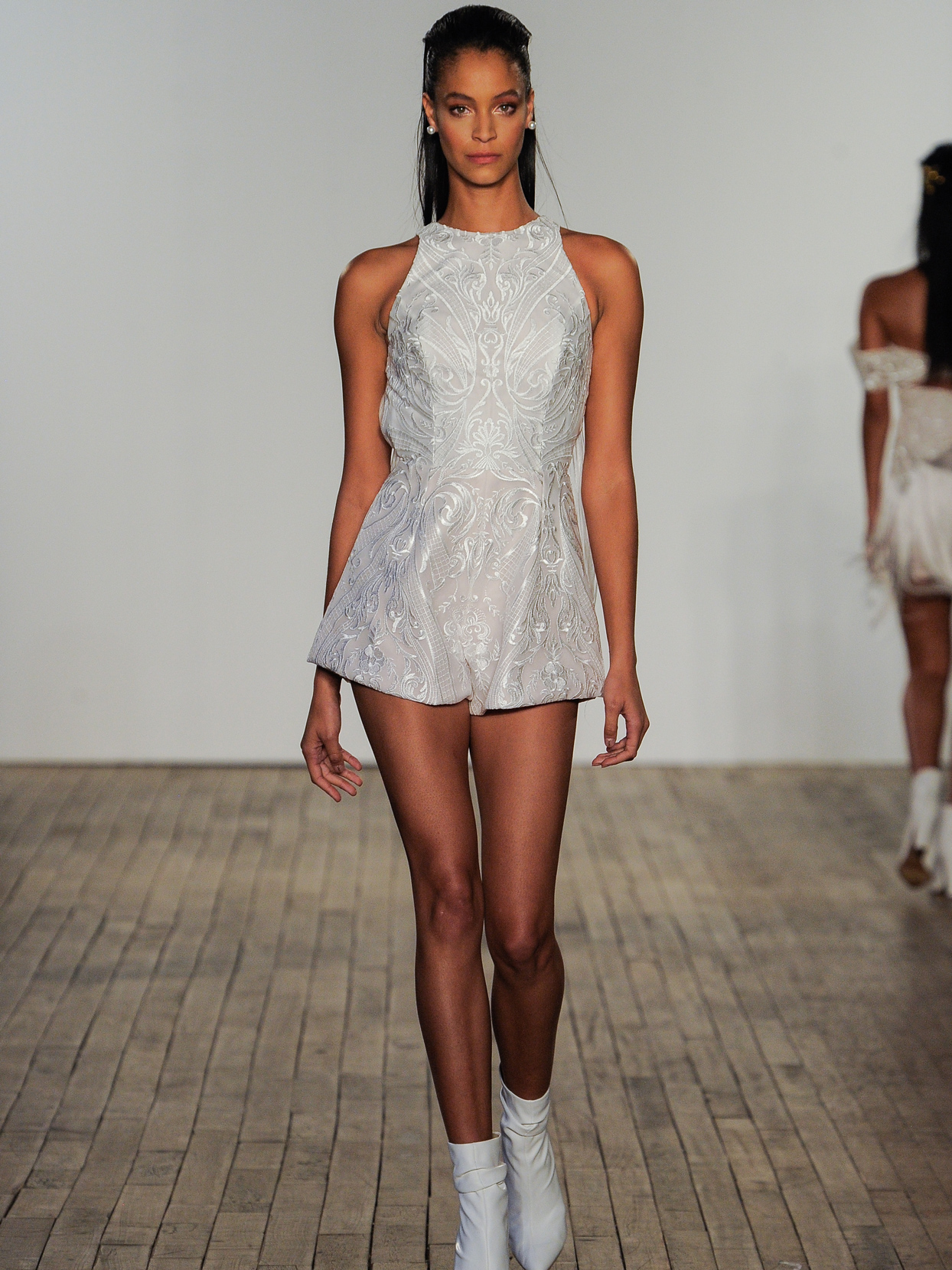 Hayley Paige lace high neck romper wedding dress fall 2020