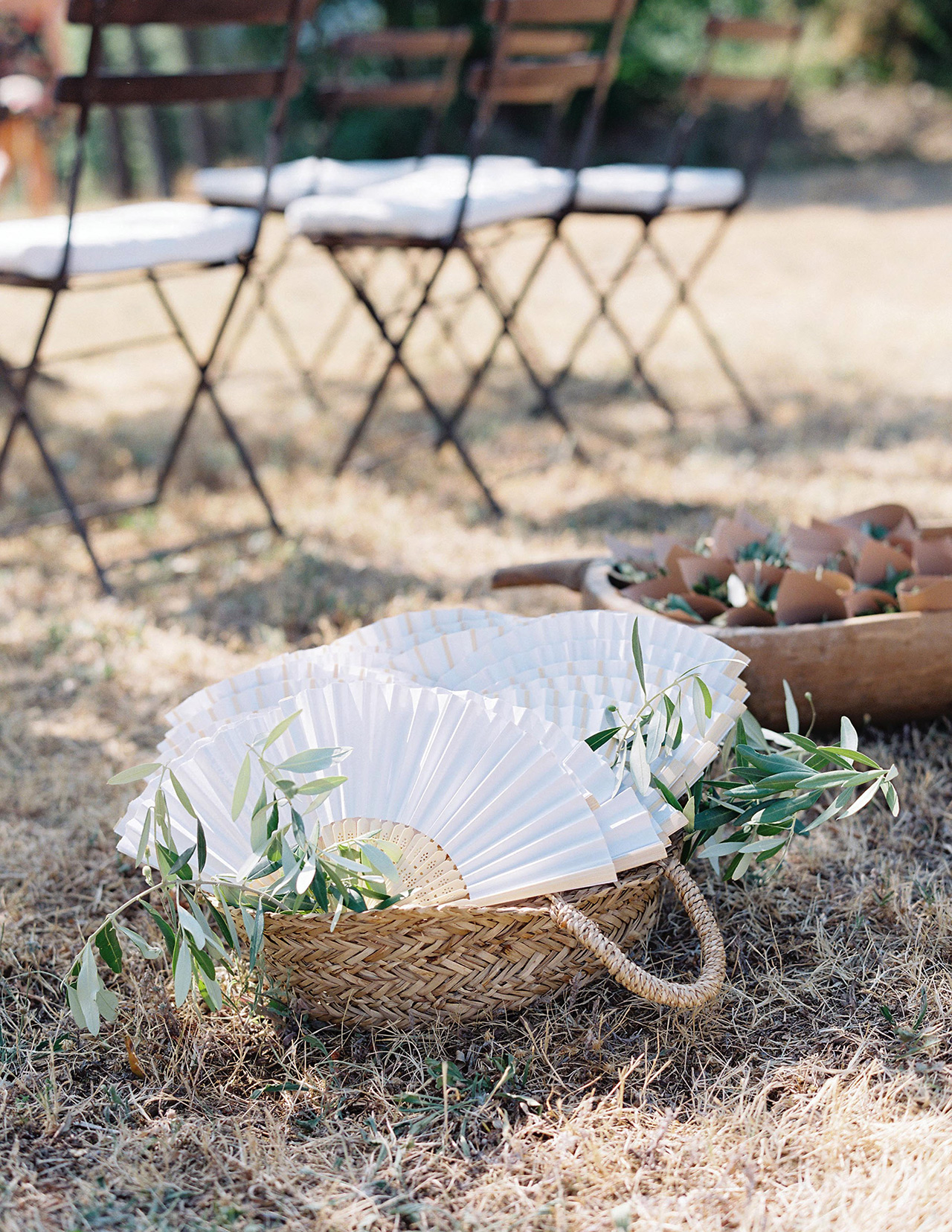 wedding guest fans wicker baskets