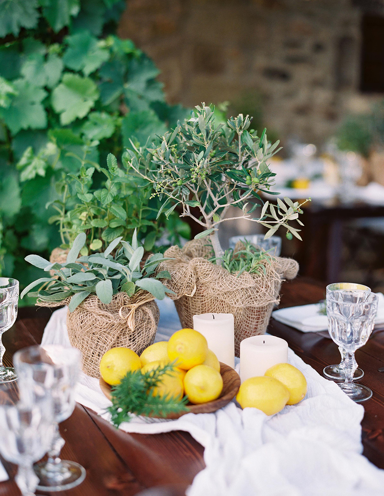 mixed herb lemon table centerpiece white table runner