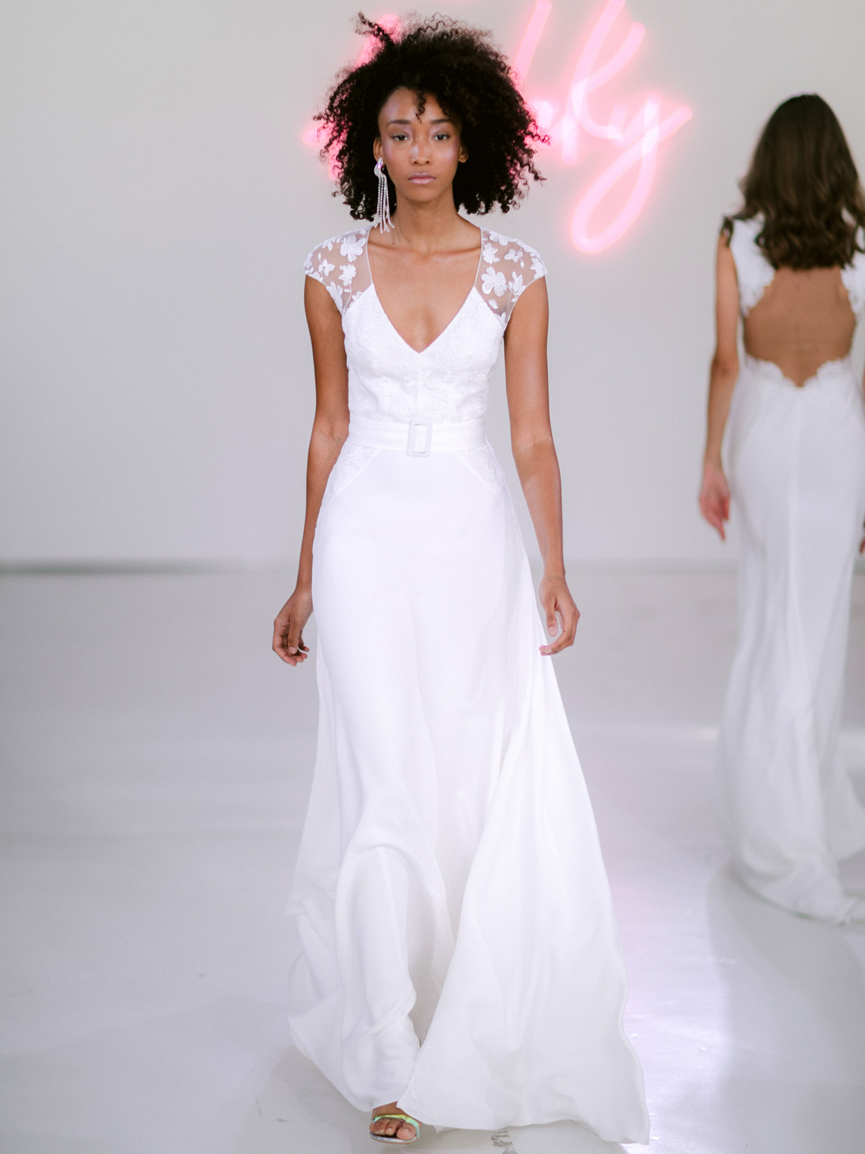 Rime Arodaky X The Mews Bridal lace cap sleeve v-neck belted wedding dress fall 2020