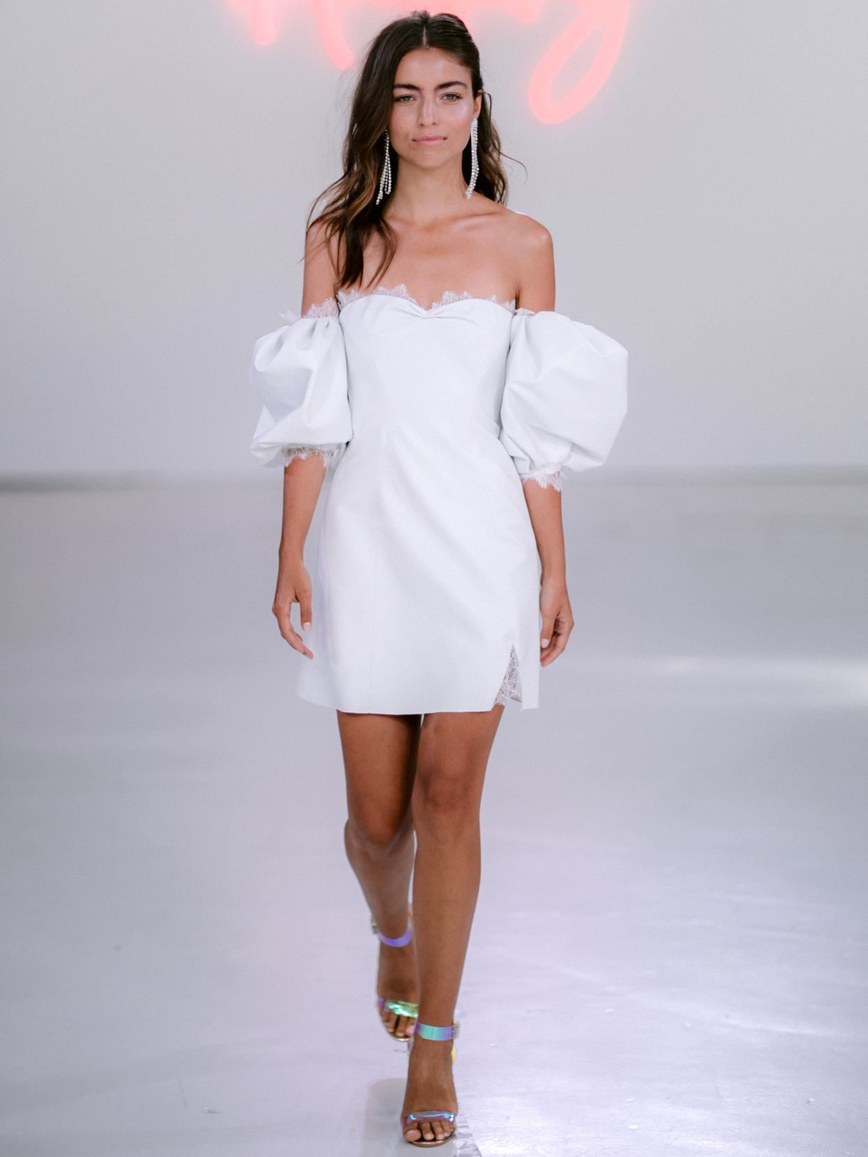 Rime Arodaky X The Mews Bridal mini puffed off the shoulder sleeves wedding dress fall 2020