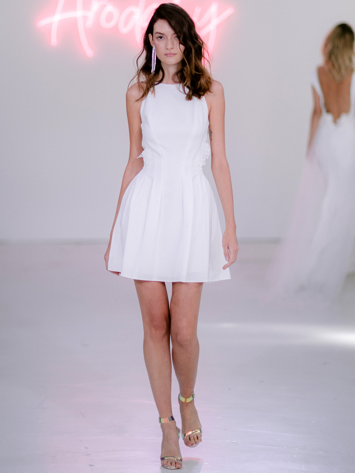 Rime Arodaky X The Mews Bridal halter neckline mini wedding dress fall 2020