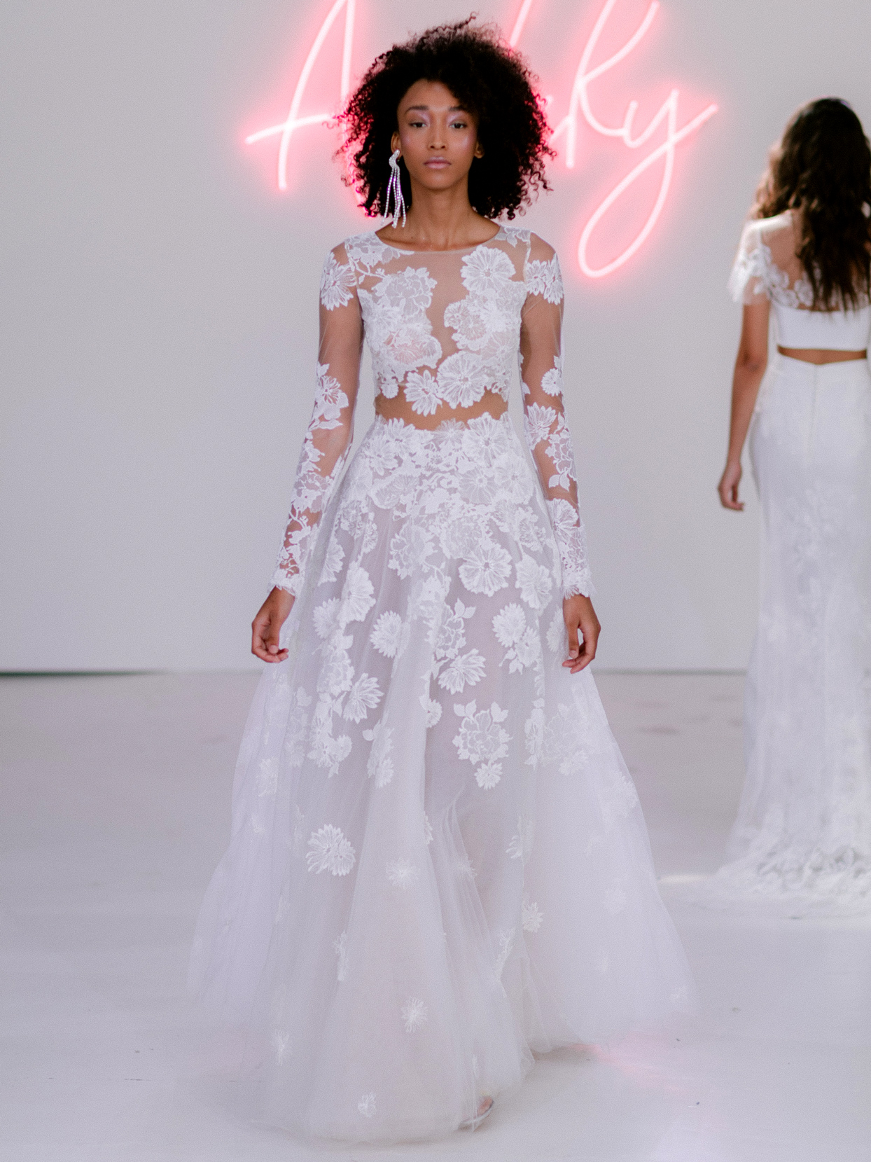 Rime Arodaky X The Mews Bridal sheer lace long sleeve crew neck wedding dress fall 2020