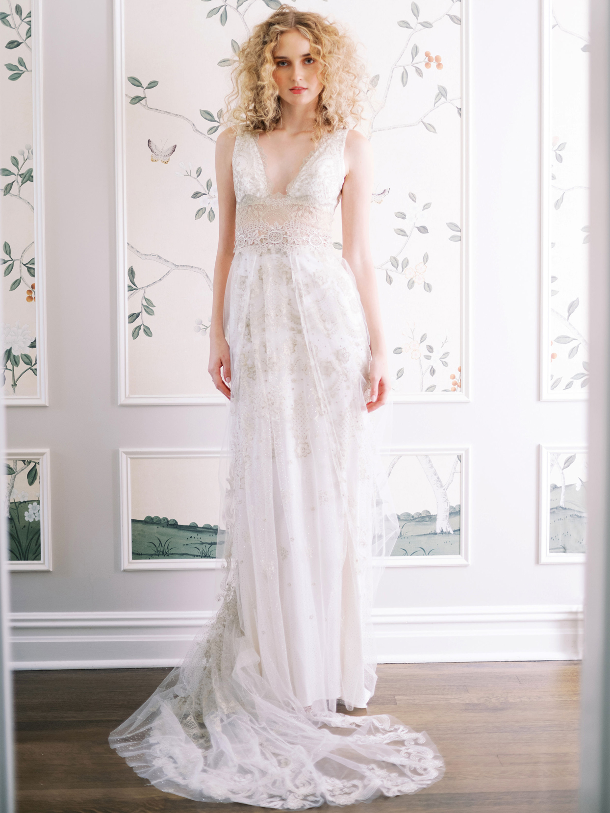 Claire Pettibone sleeveless deep v-neck lace train a-line wedding dress fall 2020