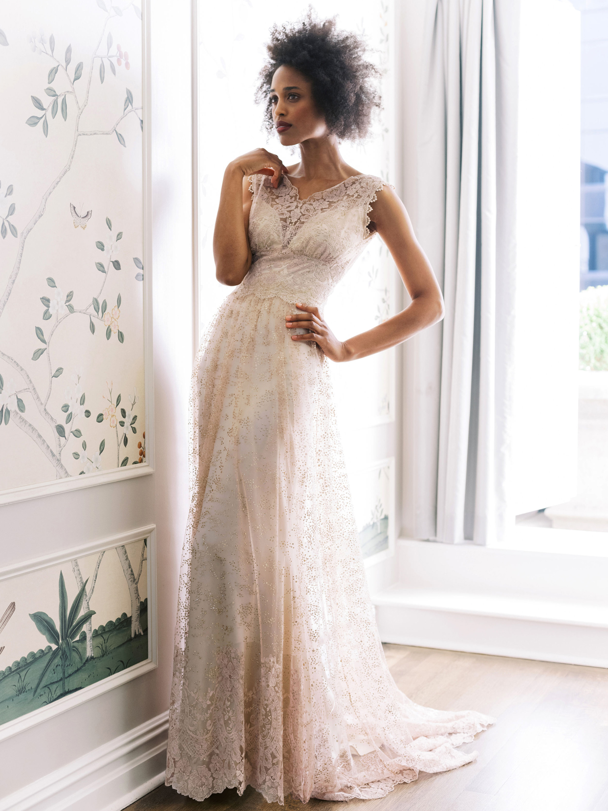 Claire Pettibone sleeveless thick strap lace a-line wedding dress fall 2020
