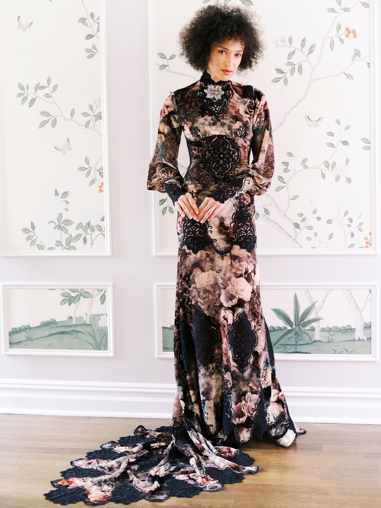 Claire Pettibone black high neck long sleeve train wedding dress fall 2020