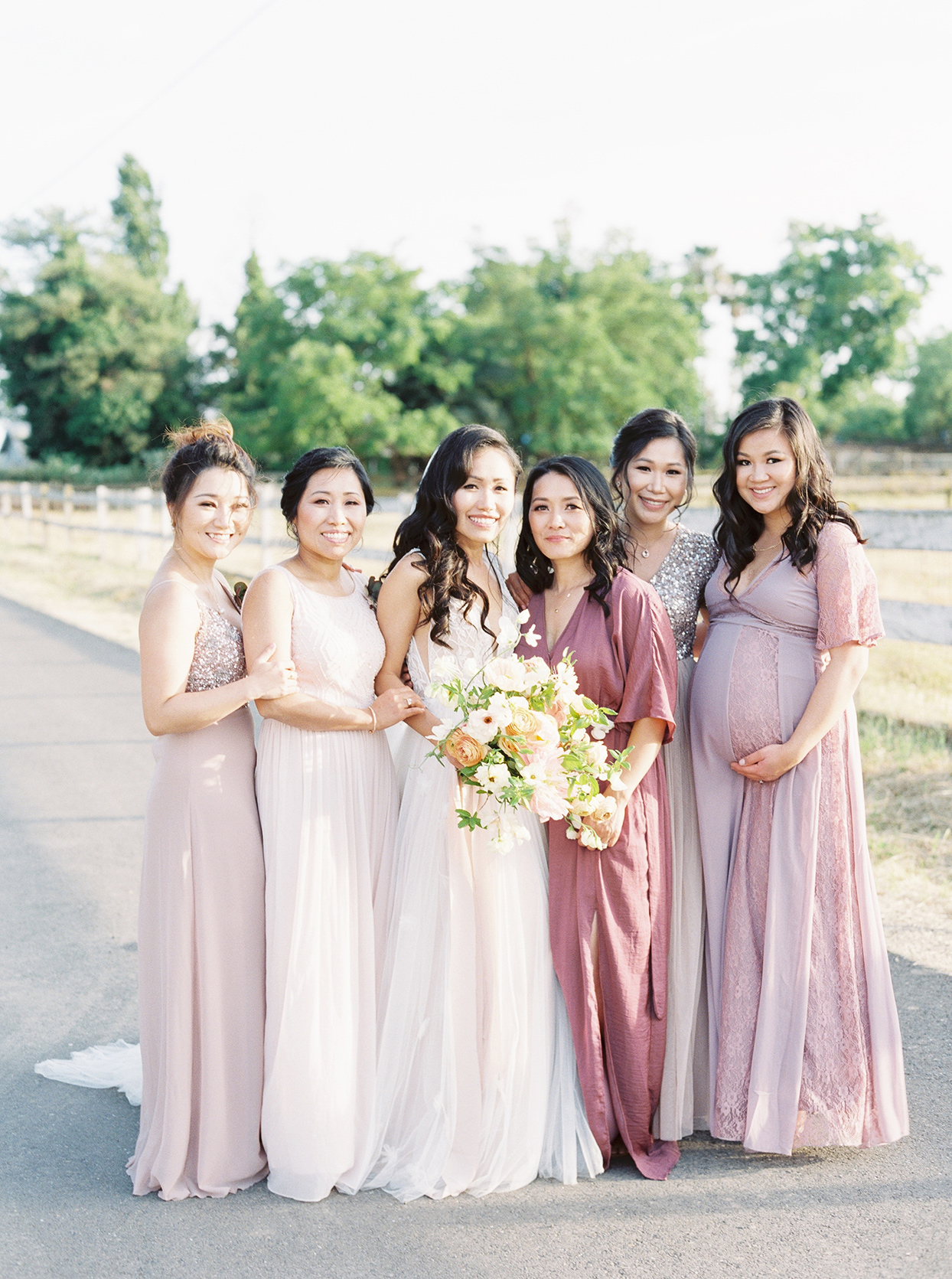 thuy kahn wedding friends in shades of lavender