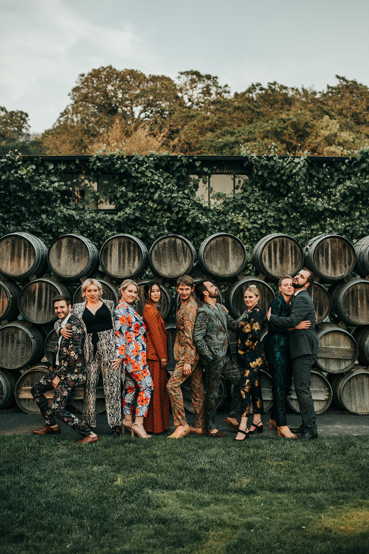austin alex wedding party in patterned suits