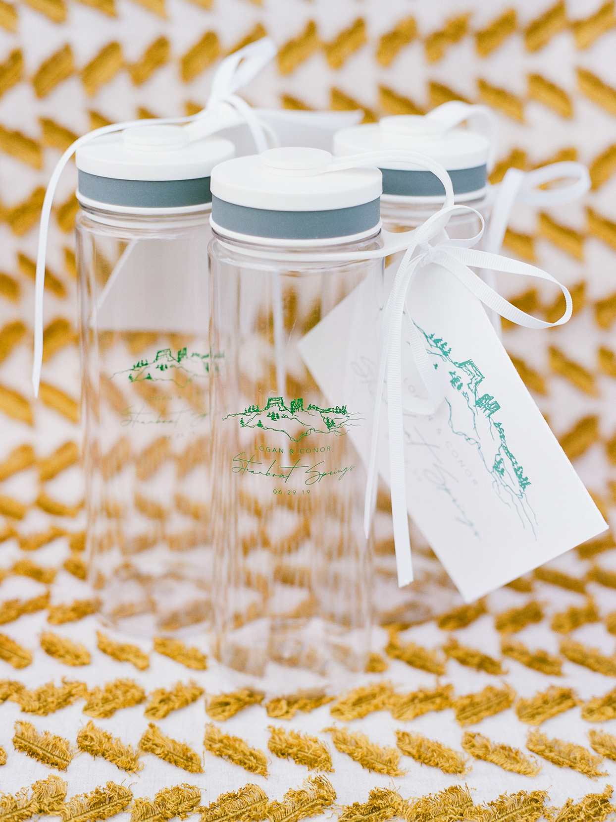logan conor wedding water bottle favors