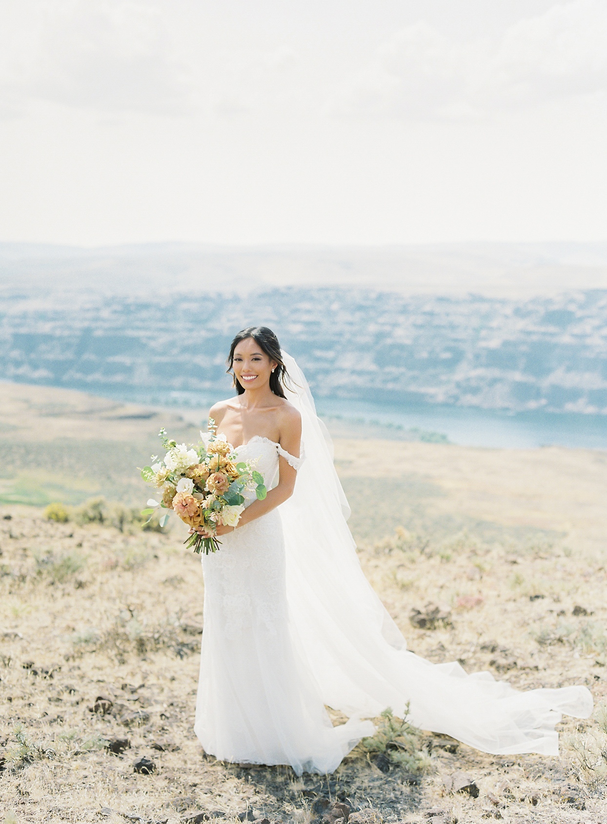 micaela curtis bride out on field with view