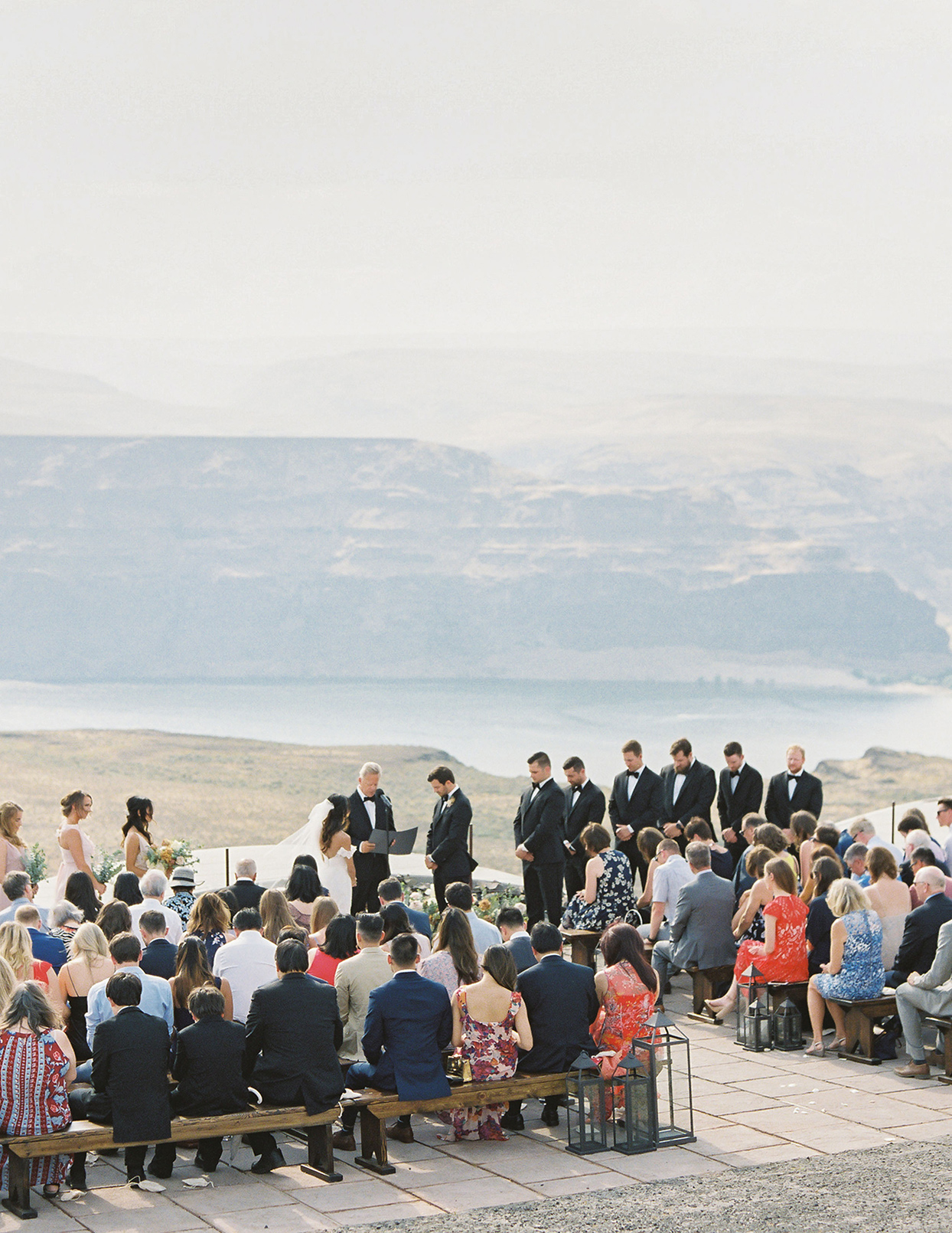 micaela curtis wedding ceremony with mountain view