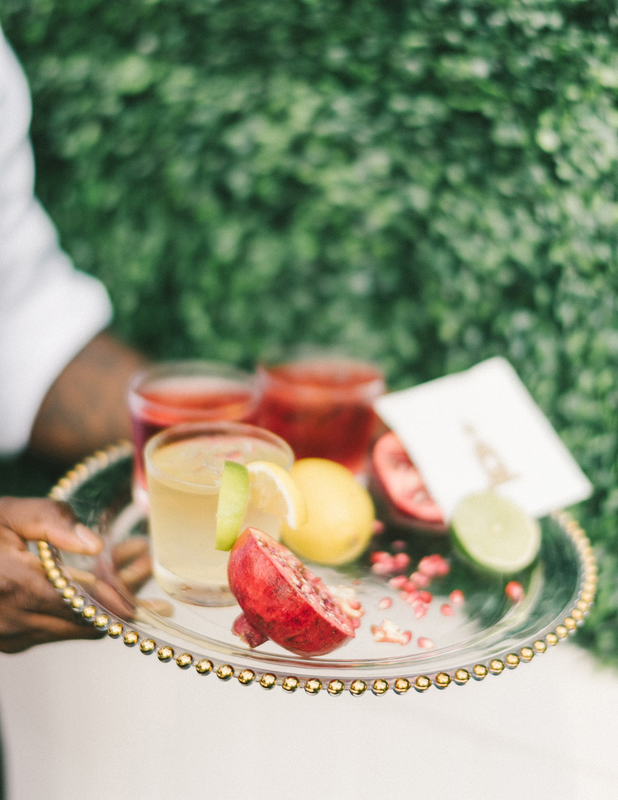 ericka meechaeyl wedding cocktails and fruits on serving tray