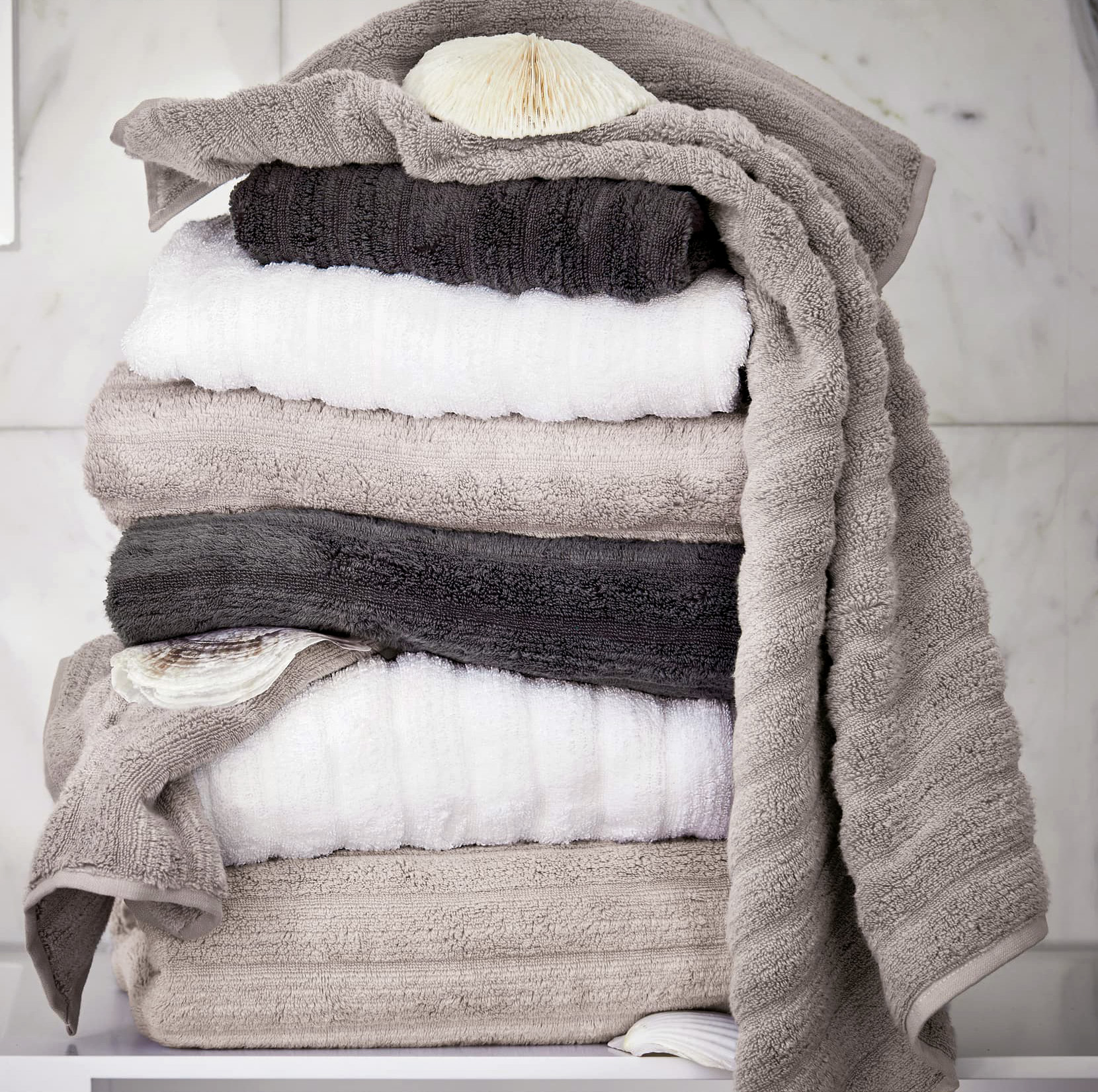 ribbed neutral towels